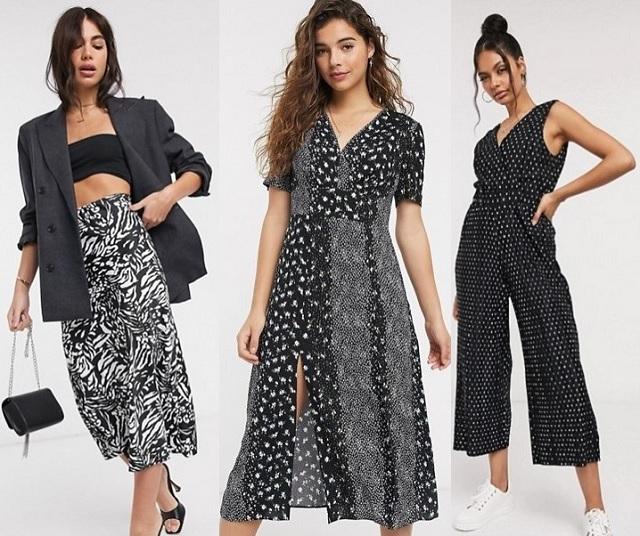Comprar online prendas negras de verano con estampado