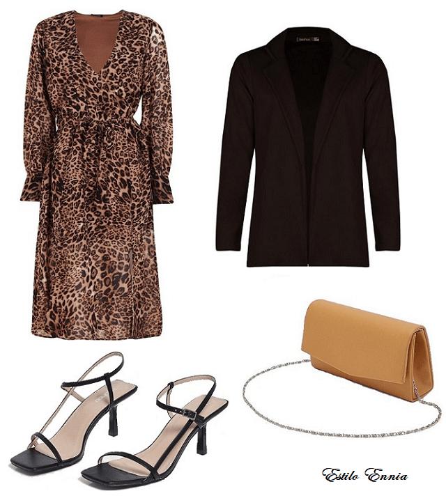 Outfit con vestido con animal print