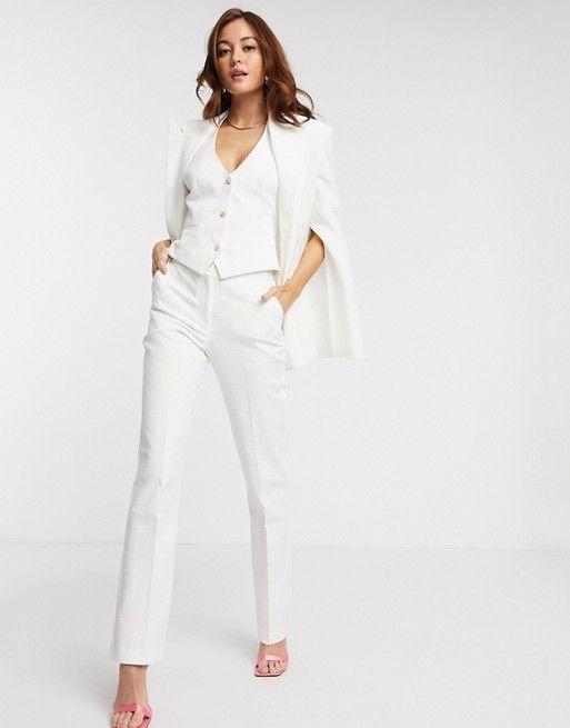 comprar online pantalones blancos texturizados