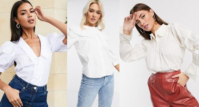 La camisa blanca con cuello bebé comprar online