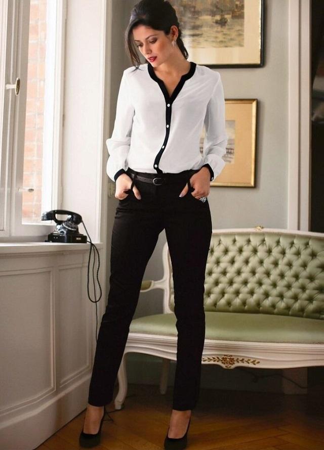 Outfit con camisa ribetes en contraste. Lo Mejor de Street Style