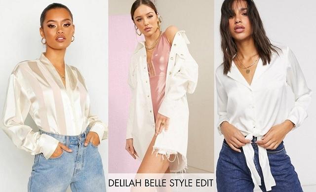 Comprar online camisa blanca en satén y camisa vaquera