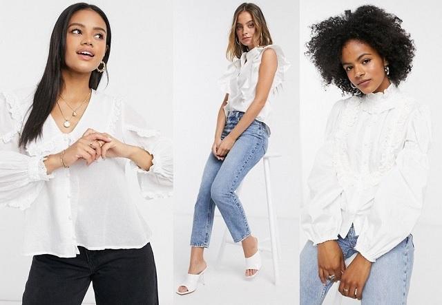 Camisas y blusas blancas con volantes otoño-invierno 2020-2021