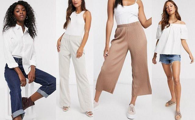 Camisa blanca, pantalones sastre, falda pantalón plisada y top con hombros descubiertos