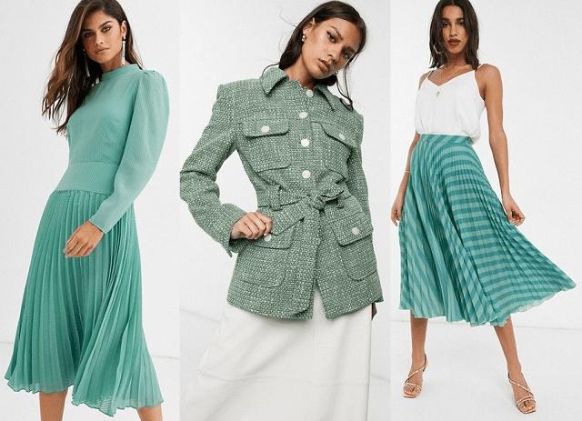 Vestido midi, chaqueta y falda midi plisada en aguamarina