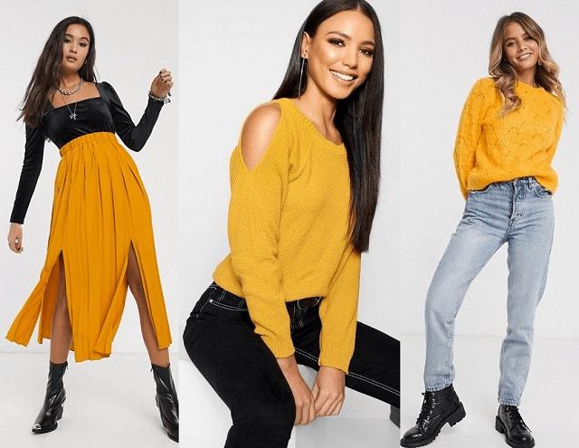 Falda midi plisada y jerséis en amarillo azafrán