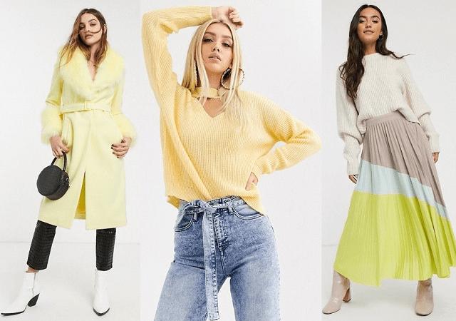 Abrigo, jersey y falda plisada en amarillo pastel