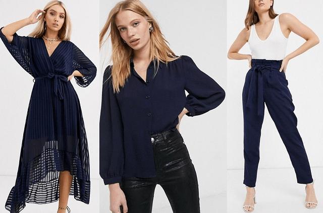 Vestido, camisa y pantalones en azul marino