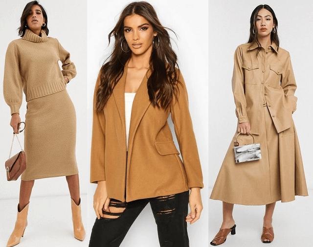 Conjunto de jersey y falda tubo, blazer y conjunto de camisa y falda midi en color camel