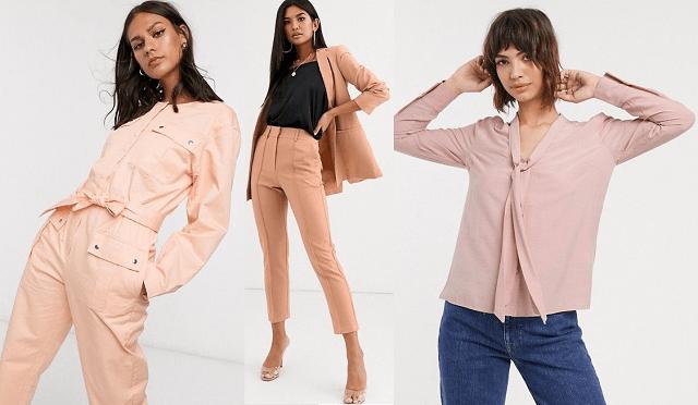 Mono largo, traje de pantalón y blusa en rosa coral