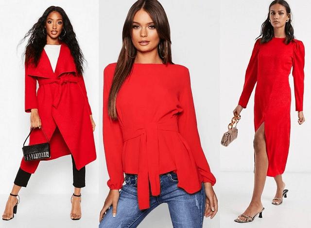 Abrigo, top con lazada y vestido en color rojo