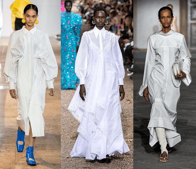 Vestidos camiseros blancos en la pasarela 2020