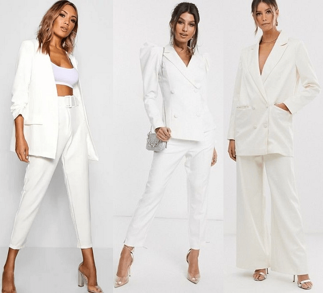 Traje de pantalón blanco primavera-verano 2020