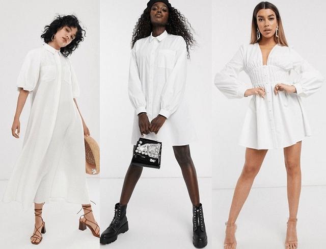 Vestidos camiseros blancos primavera-verano 2020