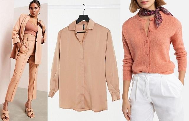 Comprar online cárdigan, traje de pantalón y camisa en color tostado