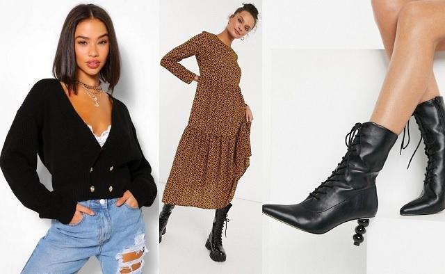 Comprar online cárdigan corto, vestido largo y botines con cordones