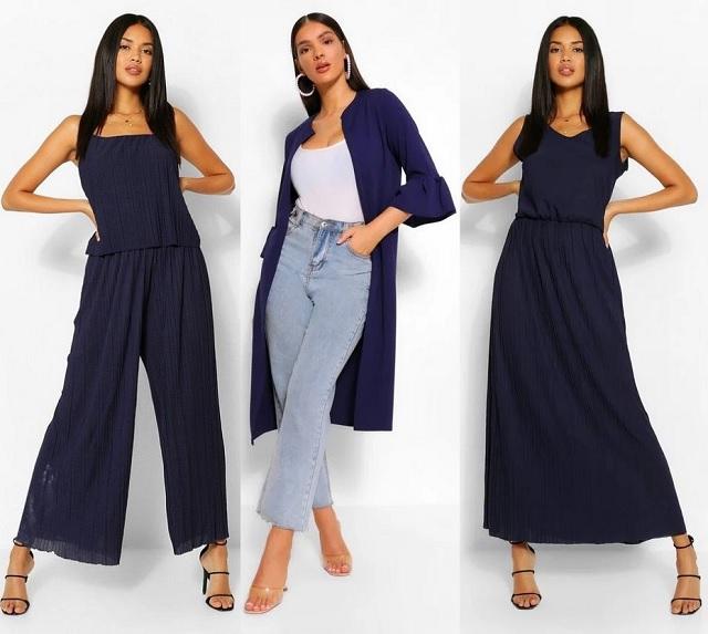 Prendas en color azul marino: mono largo, vestido y chaqueta fina
