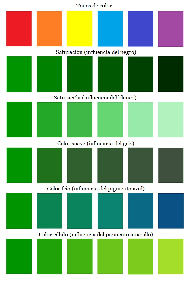 Los colores y sus tonalidades